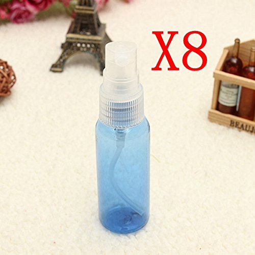 Bluelover 8Pcs 30Ml Bleu Vide en Plastique Transparent Vaporisateur Bouteille D'Atomiseur De Conteneurs Voyage