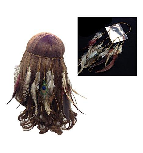 COIN Jahrgang Feder Stirnband Indisch Kopfschmuck Hippie Boho Perlen Quasten Gürtel Stirnband Haarband Haarschmuck Schick für Frauen Mädchen Abendkleider Maskerade