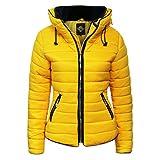 Hina Fashion Frauen / Damen gesteppte Puffer Padded Blase Pelz-Kragen-Jacken-Mantel-warme starke S M L XL (L, Gelb)