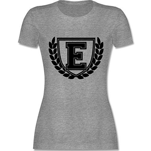 Anfangsbuchstaben - E Collegestyle - tailliertes Premium T-Shirt mit Rundhalsausschnitt für Damen Grau Meliert