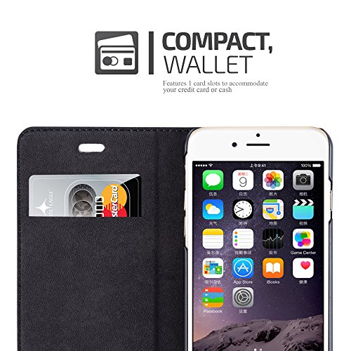 Cadorabo - Etui Housse pour Apple iPhone 6 / 6S avec Fermeture Magnétique Invisible (stand horizontale et fentes pour cartes) - Coque Case Cover Bumper Portefeuille en MARRON-CAFÉ NOIR-NUIT