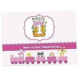16 Einladungskarten zum 1. Kindergeburtstag - Rosa - für Mädchen, Geburtstagseinladungen im Set