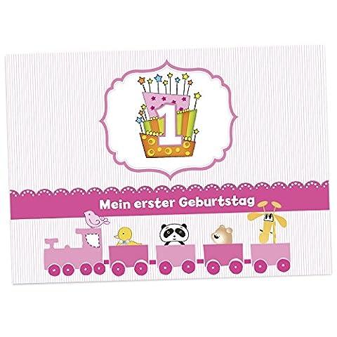 16 Einladungskarten zum 1. Kindergeburtstag - Rosa - für Mädchen, Geburtstagseinladungen im Set (1 Kindergeburtstag)