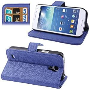 Litchi Texture Horizontal Flip Leather Case with Holder & Credit Card Slot for Samsung Galaxy S4 Mini i9190 (Dark Blue)