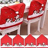 Outgeek Cubierta de la Silla de Navidad, 4PCS Creativo Lindo Muñeco de Nieve Claus Cubierta de la Silla Fiesta en casa Cena C
