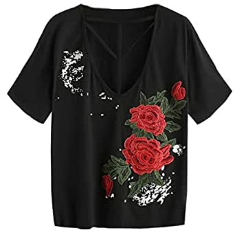 Bild nicht verfügbar. Keine Abbildung vorhanden für. Farbe  Amlaiworld  Damen bunt Blumen Stickerei t-Shirt Damen Frühling Sommer Freizeit locker  pullis Mode ... 1f7af3642e
