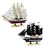 SM SunniMix 2pcs Nautische Schiffsmodell Piratenschiff Aus Holz, Kreative Büro Arbeitszimmer Deko, Kinder Geschenk