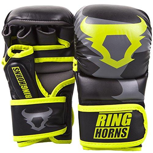 Ringhorns Charger MMA Sparring Handschuhe, Schwarz/Neon Gelb, S/M