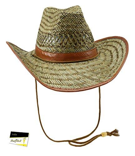 Fiebig Herrenstrohhut Strohhut Sommerhut Cowboyhut Strandhut Urlaubshut Sonnenhut mit braunem Kunstlederband für Männer (FI-16182-S16-HE0-111-61) in natur, Größe 61 inkl. (Australien Kostüme Cowgirl)