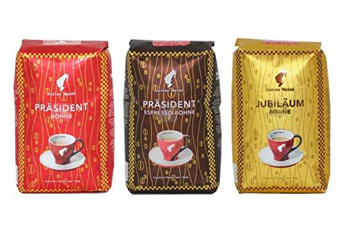 Julius Meinl - 1 Präsident, 1 Präsident Espresso, 1 Jubiläum - ganze Bohne, 3 Packungen mit je 500g