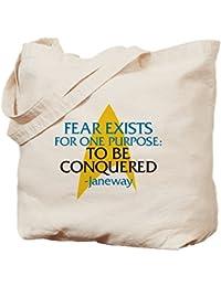 CafePress - Star Trek: Janeway Fear Quote - Natural Canvas Tote Bag, Cloth Shopping Bag