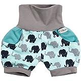 Lilakind Kurze Kinder-Hose Baby Shorts Buxe Sommerhose Taschen Elefanten Türkis Grau Gr. 86/92- Made in Germany