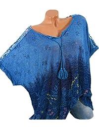 ALIKEEY T-Shirt imprimé pour Femme à Manches Courtes Dégradé O col Haut  Blouse Haut 122e6ba444d