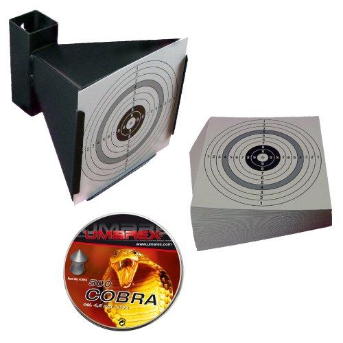 Trichter Kugelfang + 500 UMAREX COBRA Luftgewehr Jagddiabolos Kaliber 4,5 mm + 125 ShoXx.® shoot-club Zielscheiben 14x14 cm mit zusätzlichen grauen Ring und 250 g/m²