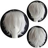 Perruque Cheveux synthétiques Homme Femme Courte Ondulée Avec frange Pour Cosplay Déguisement Costume - Blanc
