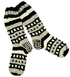 Guru-Shop Handgestrickte Schafwollsocken, Nepal Socken 41-44, Herren/Damen, Grau, Wolle, Size:One Size, Socken & Beinstulpen Alternative Bekleidung