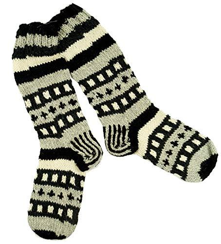 Guru-Shop Handgestrickte Schafwollsocken, Nepal Socken 42-44, Herren/Damen, Braun, Wolle, Size:One Size, Socken & Beinstulpen Alternative Bekleidung -