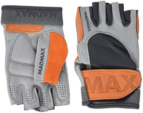 MAD MAX Fitness Handschuhe Madmax Crazy Leder Gloves Leather, Fitnessstudio, Traininghandschuhe, Grau, Large