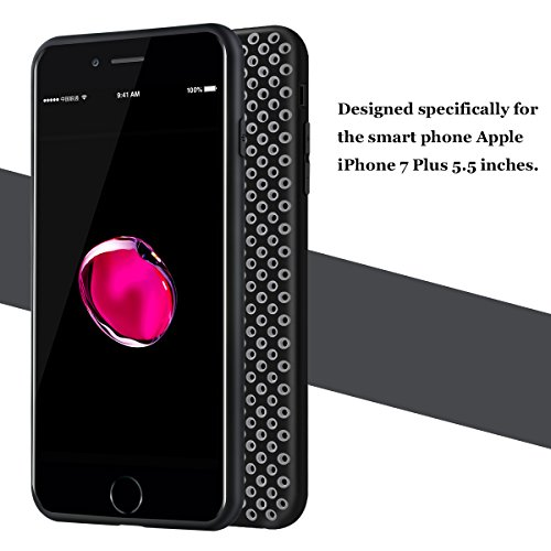 Hanlesi iPhone 7 Plus Hülle, Dissipate heat [PC Texture] Hit color design phone case, Fashion Multi radiating hole design for Apple iPhone 7 Plus 5.5 inches protective cover Black + gray