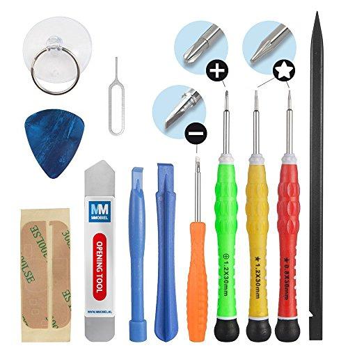 Set completo de herramientas (destornilladores) premium de reparación/apertura 13en 1 para teléfonos inteligentes iPhone 4 / 4S / 5 / 5C / 5S / 6 / 6 Plus / 6S / iPad 4 / 3 /2 / Mini, Air Samsung S5 S6 S7 Nokia Motorola Huawei Sony HTC. MMOBIEL