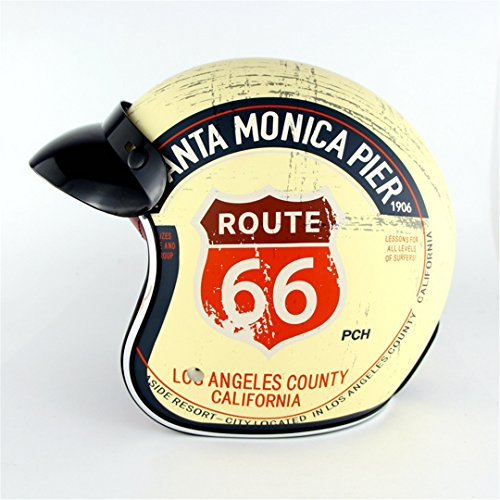 Harley Retro Helme Chopper Vintage Motorrad Helm Motocicleta Offenes Gesicht Old School Casco Casque Yellow Route 66 S (Vintage Motorrad-zahnrad)