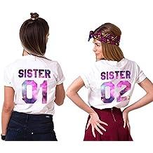 Mejores Amigas Camiseta Para Mujer T-Shirts 2 Piezas Impresión Sister 01 02 DE Colores