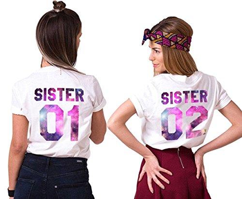 Mejores Amigas Camiseta Para Mujer T-Shirts 2 Piezas Impresión Sister 01 02 DE Colores Camisa Manga Corta Hermanas (Blanco 2,01-XS+02-XS)