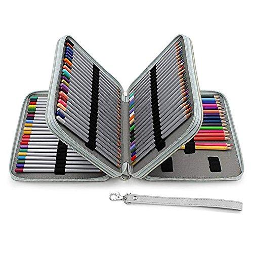 120matite colorate matita case-pu cuoio Handy grande multistrato con cerniera con manico, tracolla, Crayola penne matita colorata, Marco slot matita holder-large capacità penna organizer per WA Gray.