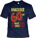 T-Shirt 60 Geburtstag - Geburtstagsshirt Sprüche 60 Jahre : Knackiger 60iger Mal knackt es Hier Mal knackt es da - Geschenk-Shirt zum 60.Geburtstag Mann/Frau Gr: 3XL