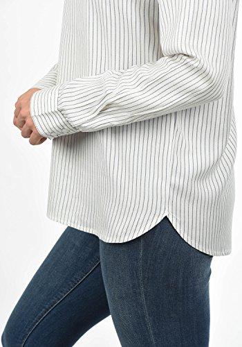 JACQUELINE de YONG by Only Smilja Damen Bluse mit Rundhals-Ausschnitt und optionalen Nadelstreifen Loose Fit Aus Hochwertiger Materialqualität Cloud Dancer with Stripes Dark Navy