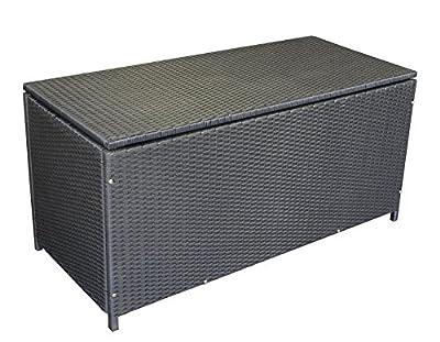 Auflagenbox Stahl + Polyrattan schwarz, 120x54x59cm von gartenmoebel-einkauf auf Du und dein Garten