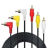 3 Cinch-Kabel – Premium vergoldet 90 Grad rechts Winkel RCA Audio/Video-Kabel, 3 Stecker auf 3 Stecker Composite Video Audio A/V AV-Kabel., 25FT
