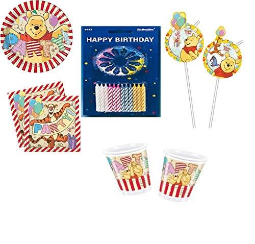 Mgs33 Kit Winnie l'ourson Alphabet 66 Pièces Anniversaire Fête 6/8 Enfants (8 gobelets, 8 Assiettes et 20 Serviettes + 6 pailles + Pack 24 Bougies )