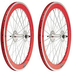 "2x Llanta Rueda para Bicicleta BMX GRAZIELLA de 20"" Fixed Aluminio con Piñon Fijo Color ROJO 3749"