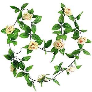 2x Rosa Artificiale Ghirlanda Di Fiori Di Seta Decorazione Della Casa Matrimonio Giardino - Champagne