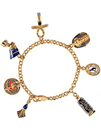 Cristalina 18ct Gold Plated Colourful Enamelled Elephant Charm Bracelet with Swarovski Crystals of Length 19cm