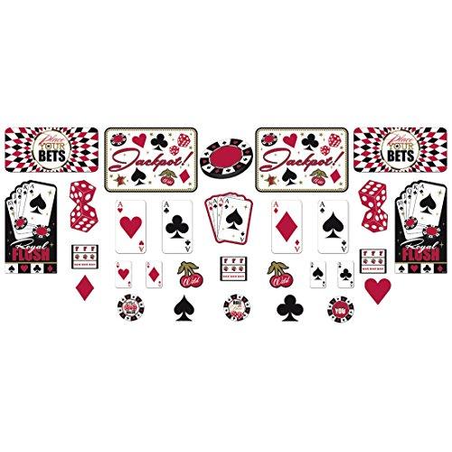 NET TOYS 30 Deko Sticker Place Your Bets Casino Party Wandaufkleber Aufkleber Las Vegas Wandtattoos Karten Wanddeko Würfel Wandsticker Dekoration Paper Cut Out