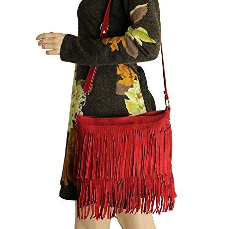 OBC Made in Italy Donna Borsa a tracolla in pelle scamosciata frange borsa a tracolla 32x 30x 5cm (BxHxT) marrone cognac 32x30x5 cm (BxHxT) Rot