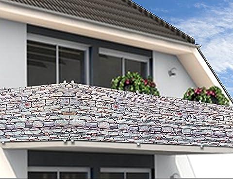 Paravent Brise vue - 500x90 cm - Brise vent Anti-Regards Clôture - Motif pierre