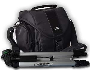 Esperanza Set 145, doppelwandige SLR+Bridge Kameratasche incl. Alu Stativ 1280mm für Systemkameras