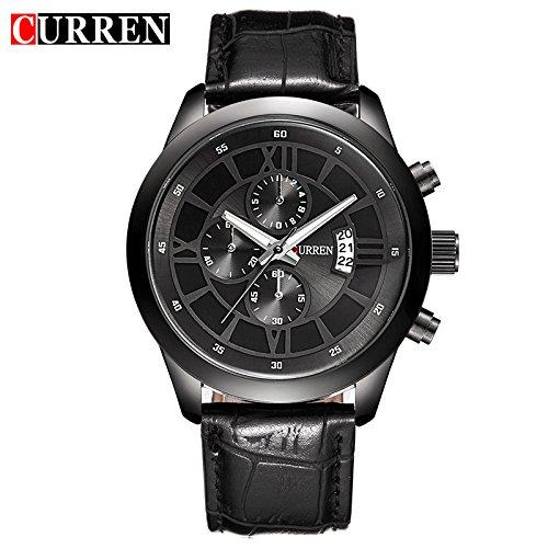 (Astrid Palme Coole Curren Uhr 8137 Gürtel Herrenuhr Kalender Wasserdicht Koreanische Mode Uhr gefälschte Drei Augen)
