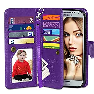 Galaxy S5 Case, Vofolen Flip Cover Galaxy S5 Wallet Case Folio Leather Holster Protective Shell with Magnetic Removable Slim Back Cover Card Holder Slots Wrist Strap for Samsung Galaxy S5 (Purple)
