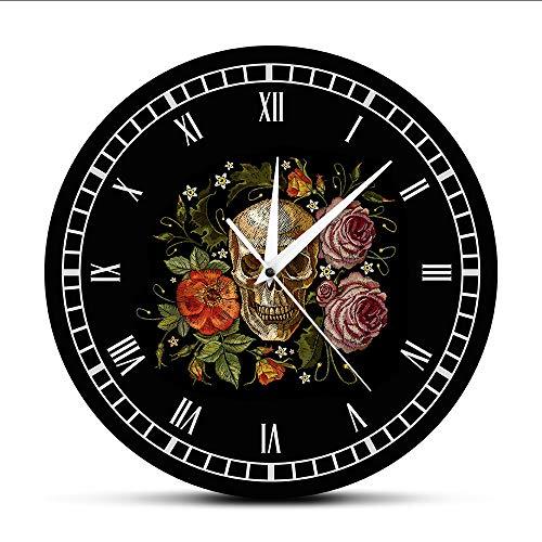 Cyalla tatuaggio teschio rose orologio da parete death evil kill killer tattoo bodypart umano scheletro osso vintage orologio decorativo orologio da parete modern mute sticker grande 12 pollici