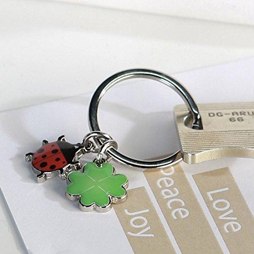 Schlüsselanhänger Glück grün/rot/silbeLänge 5 cm