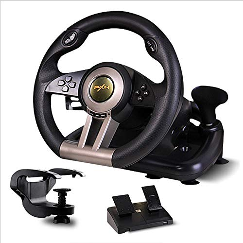 heel Driving Force Racing Wheel Computer Simulation Racing Simulation Car Support PC/PS4/PS4/Computer Racing Game Steering Wheel Car Simulator,Black ()