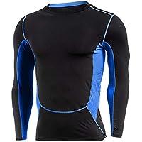 Homme T-Shirts de Compression Sport Base Layer Maillot Haut Manches Longues  de Fitness Jogging 8f72a29839e