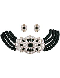 Viva Green Bead Eternal Necklace Set In CZ Crystal Diamonds With Gold Two Tone Plated By For Women