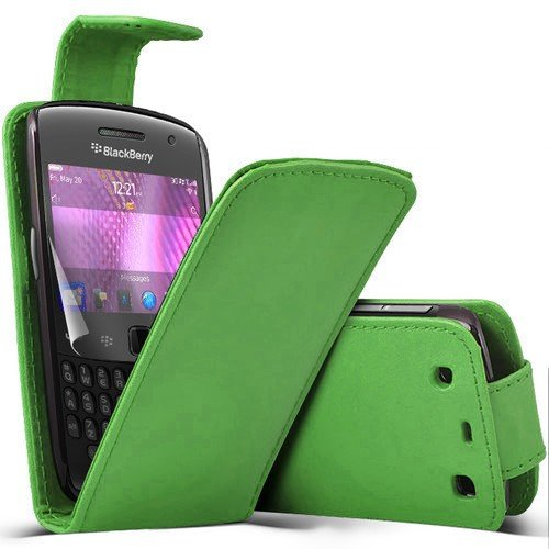( Green ) Blackberry Curve 9360 Faux Leder Flip Case Hülle & LCD-Display Schutzfolie by Fone-Case Blackberry Curve Fall