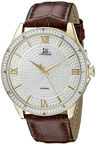 Joshua & Sons Men's JS-19-YGBR Yellow Gold Crystal Pave Dial Quartz Watch With Brown Embossed Leather Strap