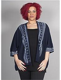 Edmond Boublil - Vêtement Femme Grande Taille Gilet bleu texturé à motifs blancs